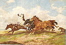 Wild Horses Racing in the Wind 1910 Postcard