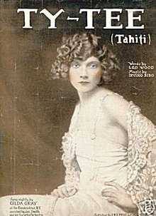 1921 Ty -Tee 'Tahiti' GILDA GRAY Sheet Music