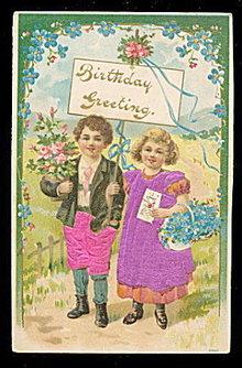 Silk Children Clothes Birthday 1909 Postcard