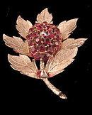 Vintage Lisner Red Rhinestone Flower Brooch