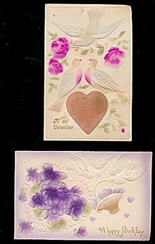 2 Velvet/Felt Flowers with Birds 1907 Postcards