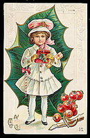 Christmas Girl in Holly 1915 Postcard