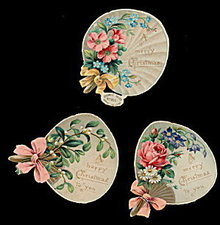 3 1870s Diecut Christmas Litho Pieces- Raphael Tuck