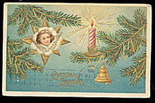 ASB Christmas Girl in Fir Pines 1907 Postcard