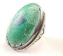 Sterling Silver Huge Green Stone - Vintage