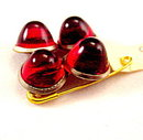 Vintage Goldtone with Red Glass French Cufflinks