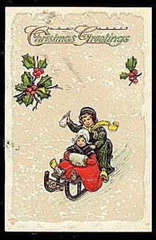 Christmas Greetings Children Sledding 1907 Postcard