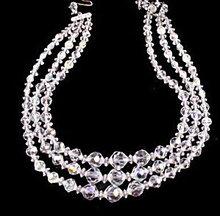 Vintage Triple Strand Crystal Necklace