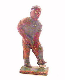 (H8) Rare Grey Iron Colored Man Digging Lead Figure