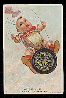 1880s Willimantic Thread Boy in Kite Trade Card