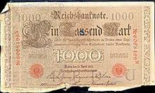 1910 1000 German Reichsbanfnote Bank Note