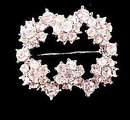 "Vintage 1 1/4"" White Rhinestone Buckle Pin"