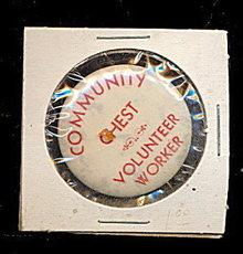 1935 Syracuse NY Community Chest Volunteer Pinback