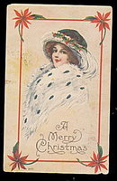 Christmas Girl in a Fur Stole & Hat 1915 Postcard