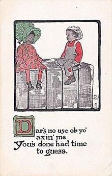 1911 Black Americana Children Humor Postcard