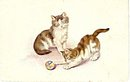 Cats Playing with Ball France Emka 1907 Postcard