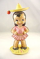 Early Celluloid Mexican Girl with Hat Windup Toy