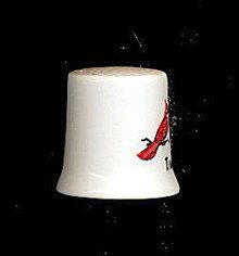 Vintage Indiana Cardinal Bird Porcelain Thimble