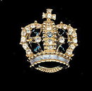 Vintage Bellini Crowns with Blue Stones Pin/Brooch