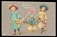 Girls Holding Flower Basket Birthday Greetings Postcard