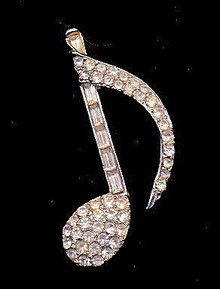 "Vintage Rhinestone 2 1/4"" Clef Music Note Pin"