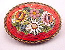 Vintage Red Mosiac Floral Brooch/ Pin - Italy