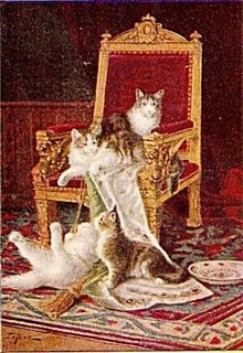 """""""In Mischief"""" Cats Signed 1906 Postcard"""