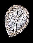 1940s Leaf Rhinestone Large Stone Scarf Clip