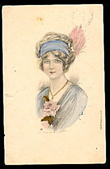 Lovely 1909 Girl/Woman in Hat Artist Postcard