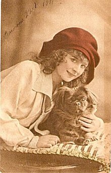 Real Photo Girl with Pekingnese Dog Tucks Postcard