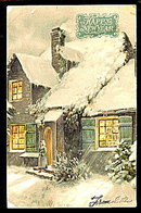 1905 New Years Greetings Scene House Postcard