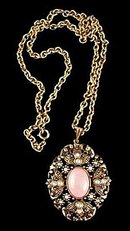 Vintage Goldtone with Pink Drop Avon Necklace