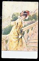 1907 E C Mather Girl in Bonnet Postcard