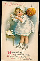 Little Girl with JOL Halloween 1925 Postcard