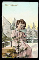 Merry Christmas Girl Angel 1909 Postcard