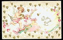1907  Valentine's Day Cherub with Hearts Postcard