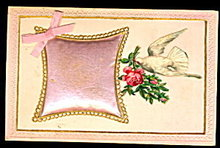 Silk Pillow Inset with Bird Greetings 1907 Postcard