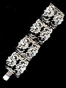 Silvertone Wide S-Wave Vintage Bracelet