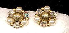 Vintage Lisner Crystal & Bead Earrings