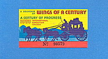 1933 Chicago World's Fair Wings of Century Ticket