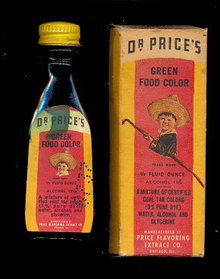 1910-1920 Dr. Price's Green Food Coloring in Box