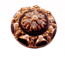Vintage Black & Faux Pearl with Stones Round Brooch