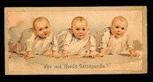 1880s Hood's Sarsaparilla Babies Trade Card