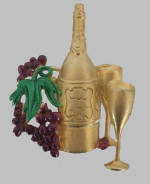 AJC Wine Bottle with Grapes Brooch/Pin