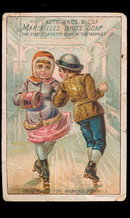 1880s Marseilles White Soap Children Skate Trade Card