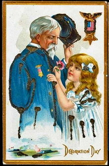 Decoration Day Girl with Soldier 1907 Postcard