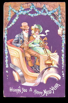Couple in Automobile New Years 1907 Postcard