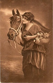 Studio Girl with Horse 1907 Postcard