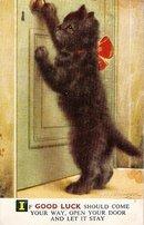 Bamforth 'Good Luck' Black Cat UK Vintage Postcard