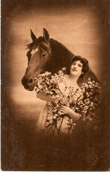 Studio Girl with Horse 1907 Postcard